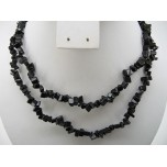 34-35 Inch Chip Necklace - Obsidian Black