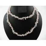 34-35 Inch Chip Necklace - Rose Quartz