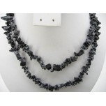 34-35 Inch Chip Necklace - Snowflake Obsidian