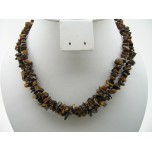 34-35 Inch Chip Necklace - Tiger Eye