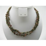 34-35 Inch Chip Necklace - Unakite