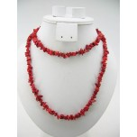 34-35 Inch Chip Necklace - Red Coral