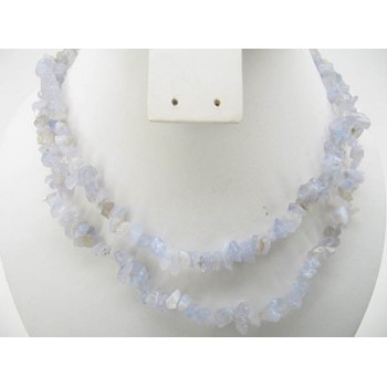 34-35 Inch Chip Necklace - Blue Lace Agate