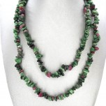 34-35 Inch Chip Necklace - Ruby Zoisite