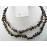 34-35 Inch Chip Necklace - Smokey Quartz
