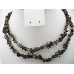 34-35 Inch Chip Necklace - Smokey Quartz