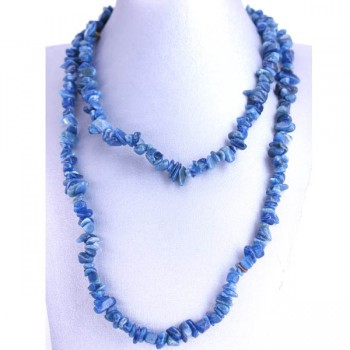 34-35 Inch Chip Necklace - Apatite Blue
