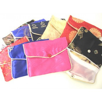 Brocade Pouch with Snap and Zip 10X12 10 piece pack