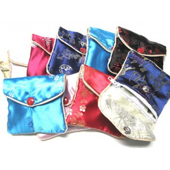Brocade Pouch with Snap and Zip 7X10cm 10 piece pack