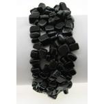 5 Strand Chip Bracelet - Black Obsidian