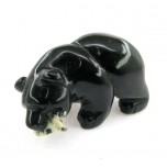 Bear with fish 2.25 Inch Figurine - Obsidian Black