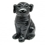 Dog (Pug) 2.25 Inch Figurine - Obsidian Black