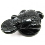 Frog with Coin 2.25 Inch Figurine - Obsidian Black