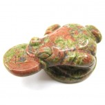 Frog with Coin 2.25 Inch Figurine - Unakite