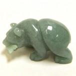 Bear with fish 1.5 Inch Figurine - Aventurine
