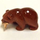 Bear with fish 1.5 Inch Figurine - Goldstone