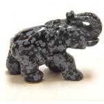 Elephant Classic 1.5 Inch Figurine - Snowflake Obsidian