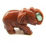 Elephant with Log 1.5 Inch Figurine - Goldstone