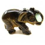 Elephant with Log 1.5 Inch Figurine - Tiger Eye