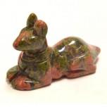 Egyptian Dog Anubis 1.5 Inch Figurine - Unakite