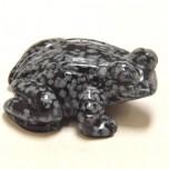 Frog Classic 1.5 Inch Figurine - Snowflake Obsidian