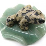 Frog on Lily Pad 1.5 Inch Figurine - Dalmatian Dacite