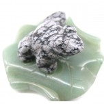 Frog on Lily Pad 1.5 Inch Figurine - Snowflake Obsidian