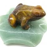 Frog on Lily Pad 1.5 Inch Figurine - Tiger Eye
