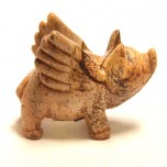 Pig Flying 1.5 Inch Figurine - Picture Jasper