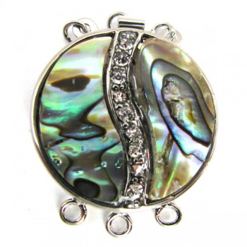 Abalone Yin Yang Style with Crystal Pendent
