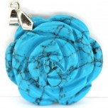 Rose with Bail Pendant - Howlite Turquoise