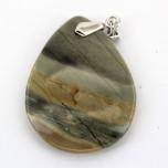 Flat Teardrop Pendant with Bail - Silver Leaf Jasper