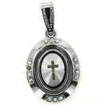 Metal Pendant - Cross Inside Oval #1