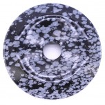 Donut 30mm Pendant - Snowflake Obsidian