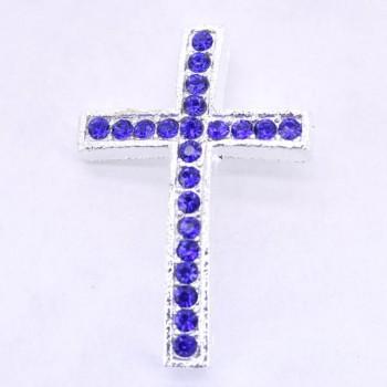 Rhinestone Metal Cross Pendant - Feed Through - Blue - 10 pc pack