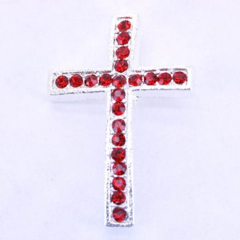 Rhinestone Metal Cross Pendant - Feed Through - Red - 10 pc pack