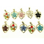 Rhinestone Pendants Flower In Heart 10 piece pack