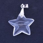 Star Pendant with Bail -  Fused Clear Quartz