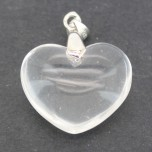 Small Heart with Bail - Fused Clear Quartz
