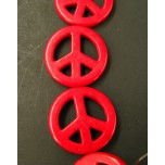 20mm Red Turquoise Peace Sign Bead Strand
