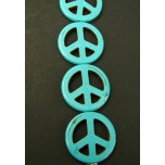 25mm Blue Turquoise Peace Sign Bead Strand
