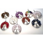 Wrapped Gemstone Chip Tree Pendant  Assorted Stones