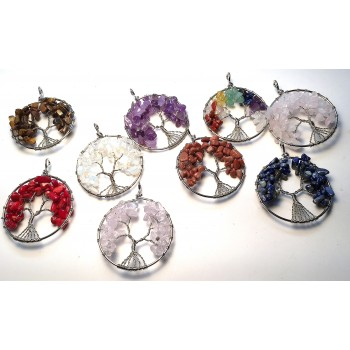 Wrapped Gemstone Chip Tree Pendant