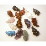Dinosaur (Triceratops) Carved Fetish Bead 0.75 Inch - Assorted Stones