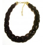 Braided Mesh Crystal Necklace with Lobster Claw clasp and 3 inch drop- Black