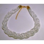 Braided Mesh Crystal Necklace with Lobster Claw clasp and 3 inch drop- Clear