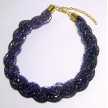 Braided Mesh Crystal Necklace with Lobster Claw clasp and 3 inch drop- Dark Blue