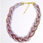 Braided Mesh Crystal Necklace with Lobster Claw clasp and 3 inch drop- Lavender