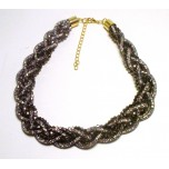 Braided Mesh Crystal Necklace with Lobster Claw clasp and 3 inch drop- Navy