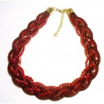 Braided Mesh Crystal Necklace with Lobster Claw clasp and 3 inch drop- Red